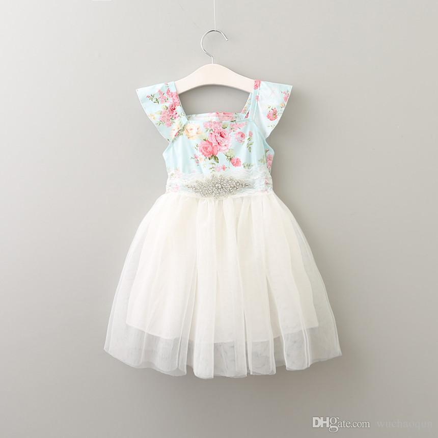 Dziewczyny Kwiatowy Druku Tutu Dress Dzieci Diament Tulle Letnia Party Dress Princess Fly Sleeve Z Kryształowym Dekoltem Ruffles Wakacje Suknie