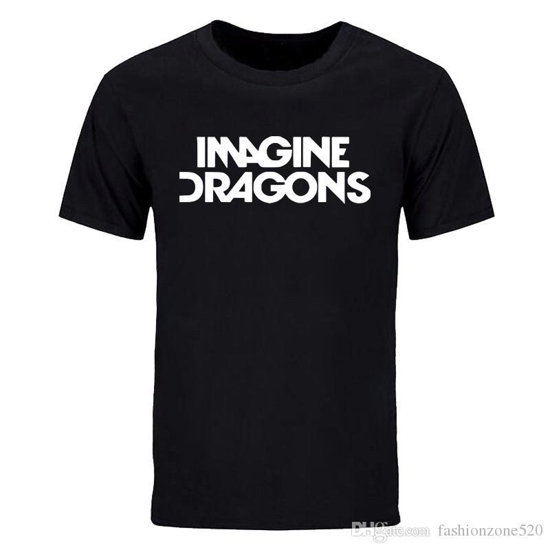 summer fashion Men short sleeve T shirt IMAGINE DRAGONS Letter Printed Cotton Casual Funny t Shirt crew neck Tops Tees DIY-0877D