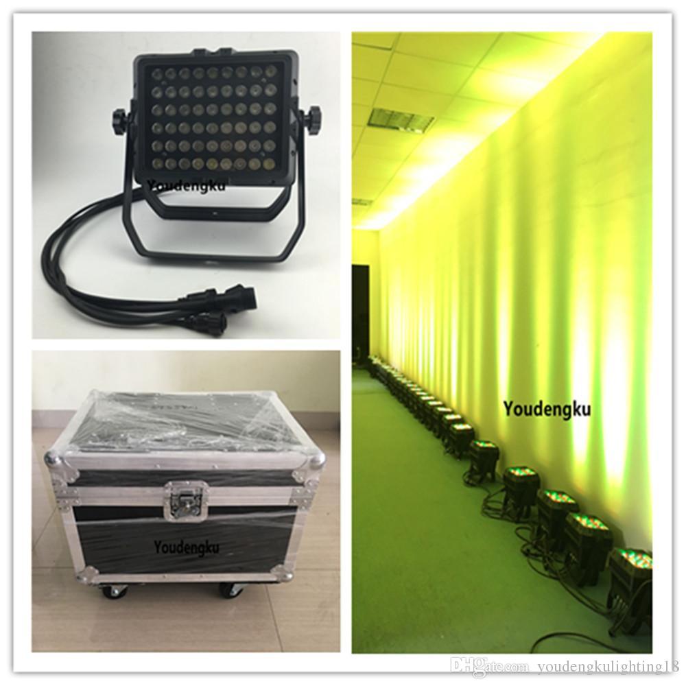 4 pièces avec flightcase Nouvel IP65 54 * 3w RGBW boîtier en aluminium étanche led wall washer a mené la ville couleur éclairage de scène