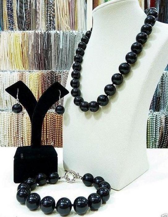 14mm Black Shell Perlenkette 18inch + Bracelet + Earrings Set