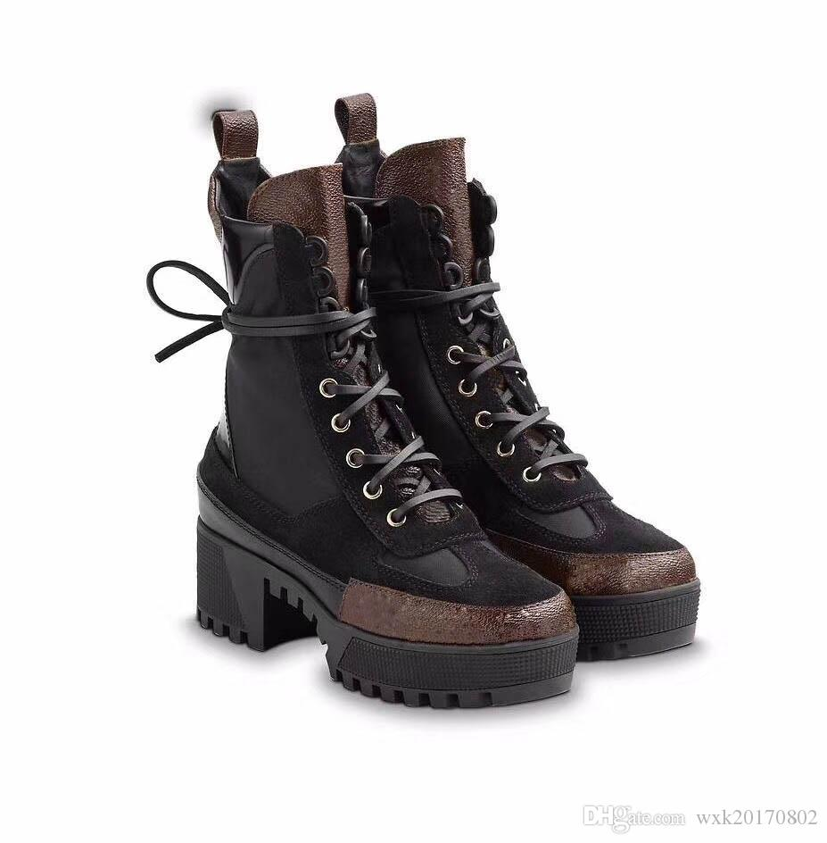 Branded Leather Laureate 5 cm Plataforma Desert Boot Diseñador Chunky Tobillo Lienzo Botas Caja Tamaño del paquete EUR35-41