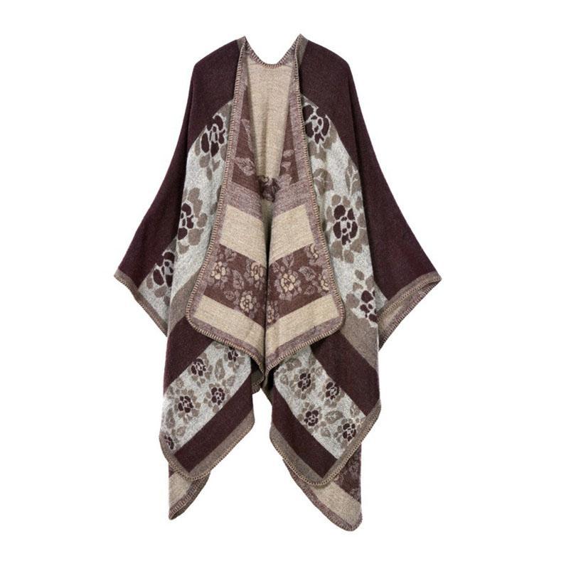 hiver poncho 2018 nouveau style de mode écharpe en cachemire épaisse femmes rétro châles chaud couverture femelle echarpe