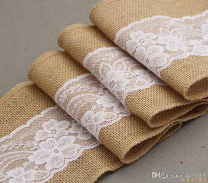 free shipping 15*240cm Naturally Elegant Burlap Lace Chair Sashes Jute Chair Tie Bow For Rustic Wedding Party Event Decoration