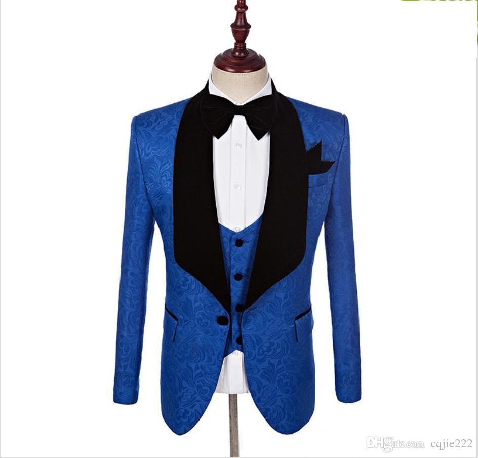 New Groomsmen Greenyellow Pattern Groom Tuxedos Shawl Black Lapel Men Suits Side Vent Wedding/Prom Best Man ( Jacket+Pants+Vest+Tie ) 119