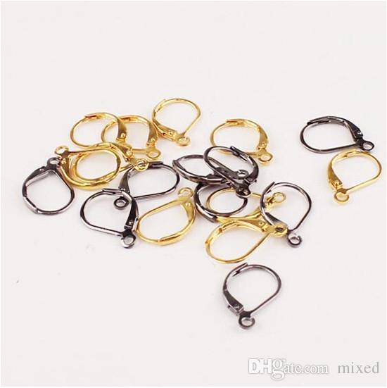 Xinyao 25 زوج / الوحدة الروديوم / الذهب مطلي حلق المشابك خطاف 10.5 * 15.5 ملليمتر معدن الأذن السنانير حلق سلك ل diy مجوهرات صنع F1727