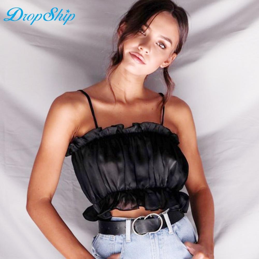 wholesale 2018 Summer Sexy Camis Tops Women Pleated Ruffles Crop Tops Elegant Women Solid Elastic Beach Tank Tops Girls Camis XL
