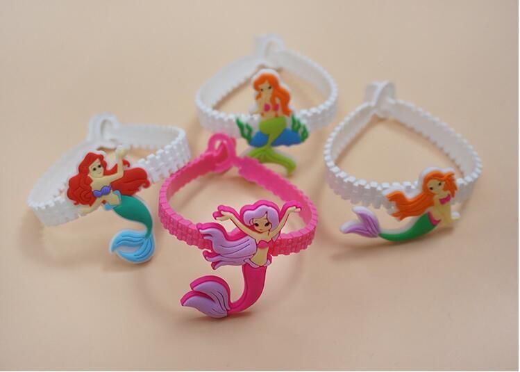 50pcs PVC sereia pulseira de silicone luminoso presente de aniversário meninas pulseira
