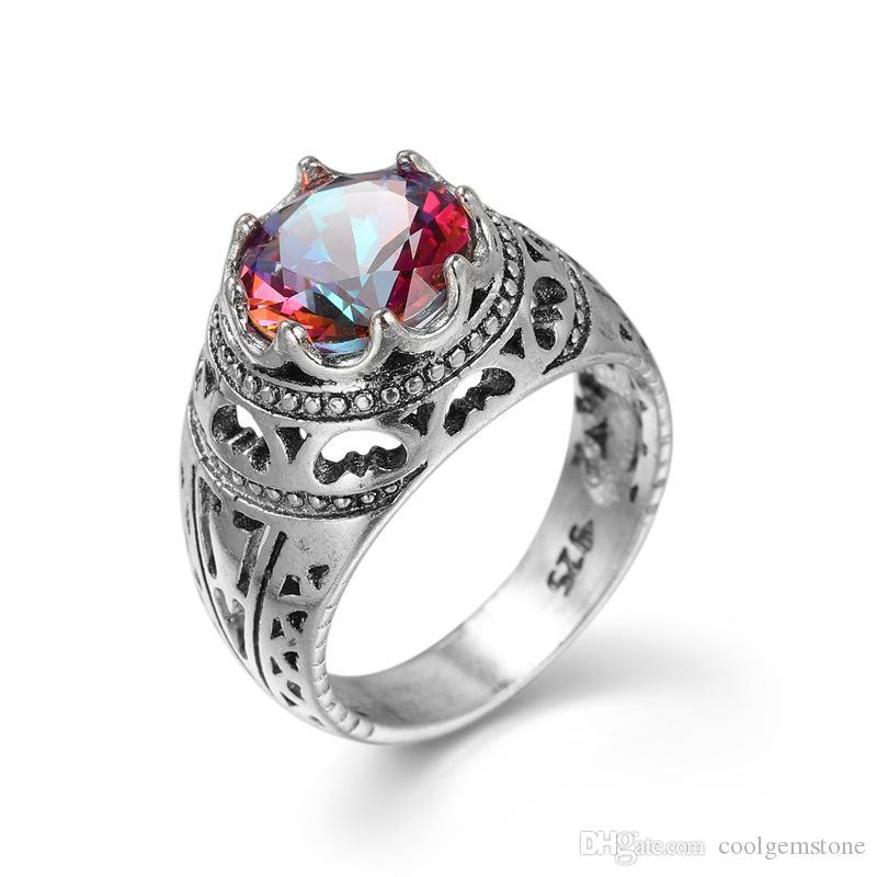 Luckyshine ny två bit / mycket jul varm sälja kunglig stil 925 sterling silver kunglig stil mystisk topas ring för älskare gåvor r0106107