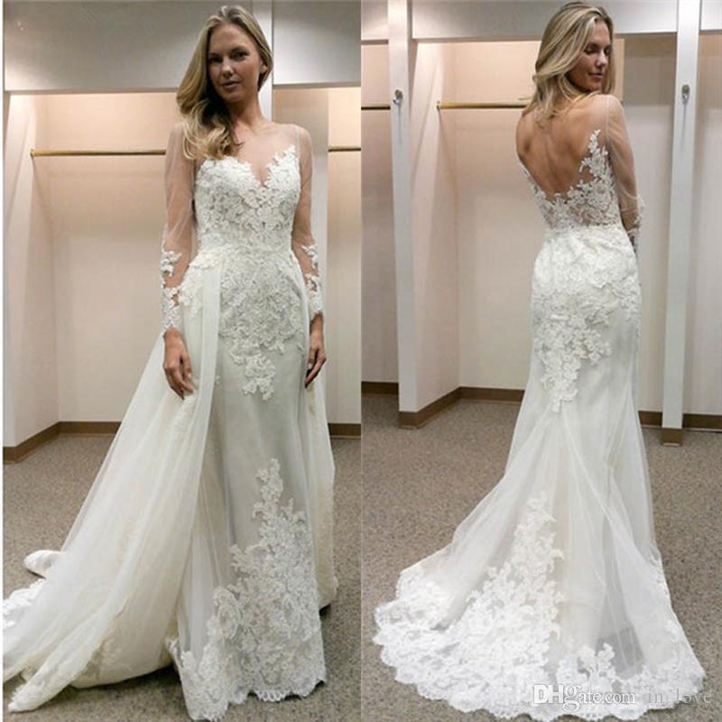 Detachable Wedding Dress.Sheer Long Sleeve Removable Train Wedding Dresses Mermaid Bakcless Appliques Lace Detachable Bridal Gowns Custom Size Wedding Dress Tea Length Wedding