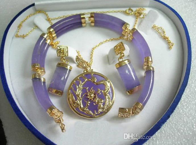 Purple Lavender Jade White Gold Plated Fortune Pendant Necklace Earrings Set