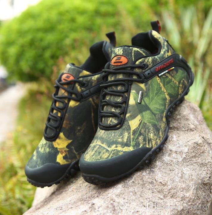 El cuero genuino de los zapatos de excursión a pie de camuflaje otoño e invierno zapatos al aire libre zapatos de hombre impermeable antideslizante ocasional A255 desgaste
