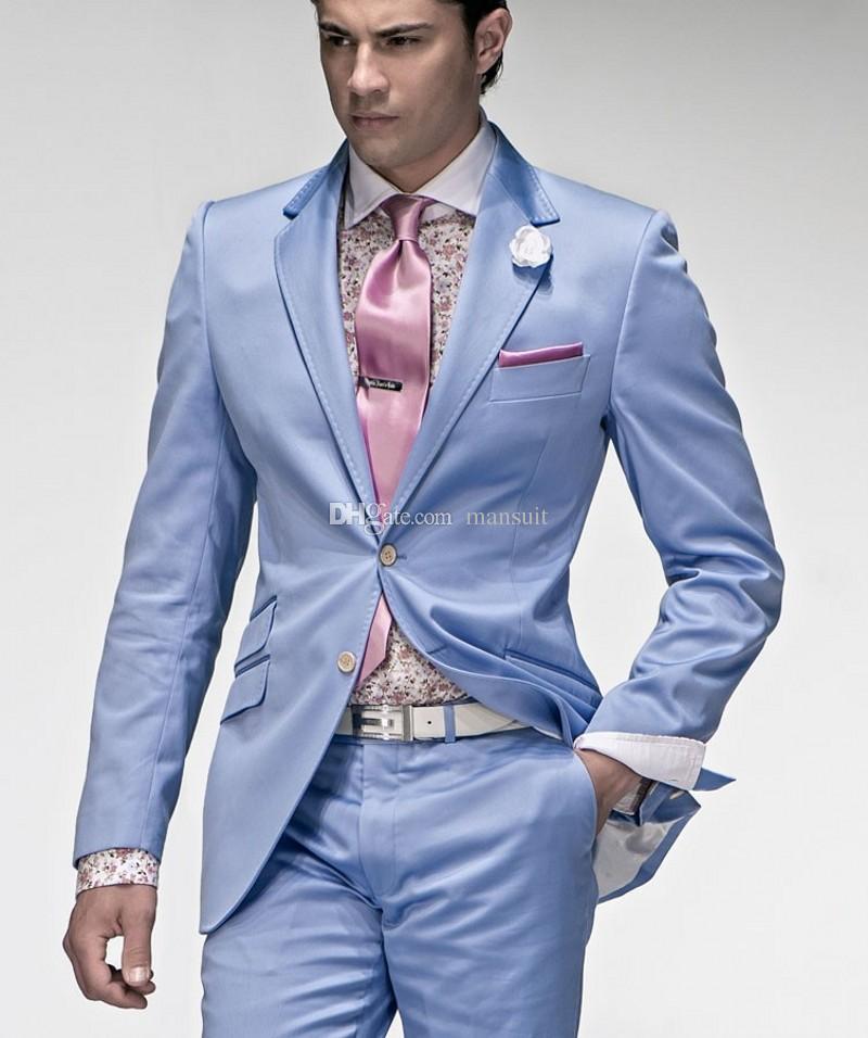 Apuesto padrino de boda Muesca Solapa Novio Esmoquin Azul bebé Trajes de hombre Boda / Fiesta de graduación Mejor hombre Blazer / Novio (Chaqueta + Pantalones + Corbata) M442
