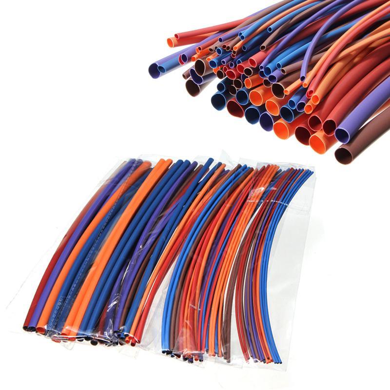 80 قطع البولي أوليفين 16 متر تشكيلة كم أنبوب 2: 1 أنابيب الحرارة يتقلص التغطيه التفاف سلك كابل كيت 6 الحجم 5 اللون أنابيب المبرد
