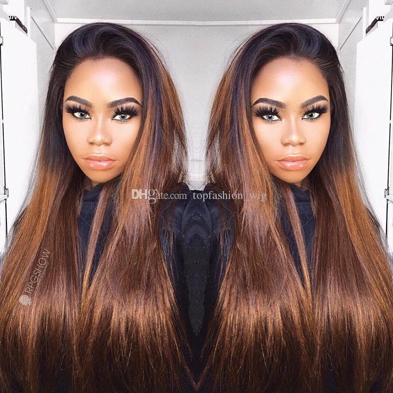 Ombre Dantel Ön İnsan Saç Peruk İpeksi Düz İki Ton Renk Peruk Bebek Saç Öncesi Mızraplı Perulu Remy Saç Peruk İçin Kadınlar
