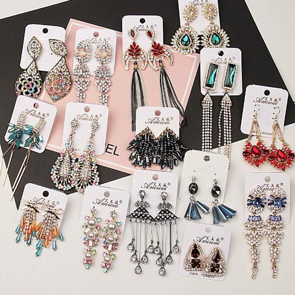 2018 nouvelle mode fille Madame luxueux cristal scintillant gemme zircon boucles d'oreilles Boucles d'oreilles or rose glands Mix 20 styles 20 paires