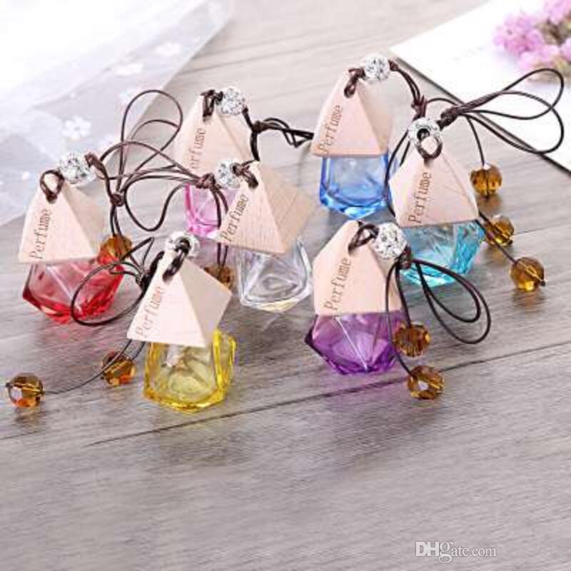 Piękne szklane butelki perfumeryjne z drewnianą czapką, pusty napełniający butelkę wiszącą śliczne odświeżacz powietrza nośnik LX2809