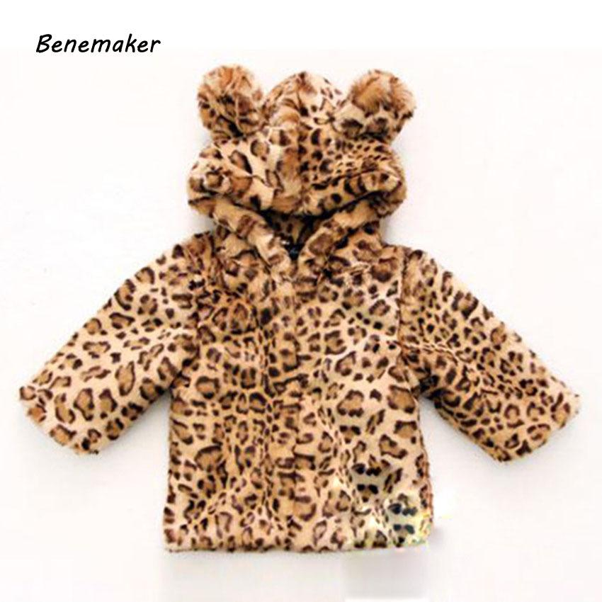 Benemaker Faux Fur Winter Leopard Print Jackets For Girls Boys Children Clothing Coats Overalls Hooded Baby Kids Outerwear JH110 Y18102608