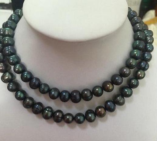 Двойные пряди 10-11 мм Барокко Таитян Черное зеленое жемчужное ожерелье 18 дюймов 19 дюймов 14k Золотая застежка