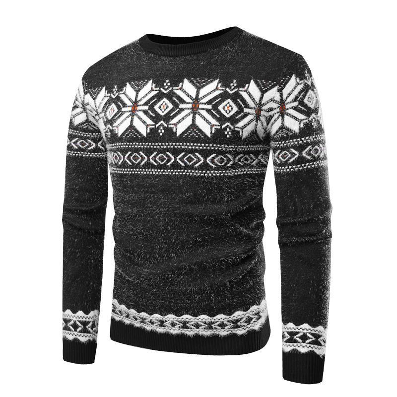 Sweater Men 2018 Autumn Winter Round Neck Long Sleeve Warm Snowflake Pullover Masculino Sweater Men black/blue M-XL