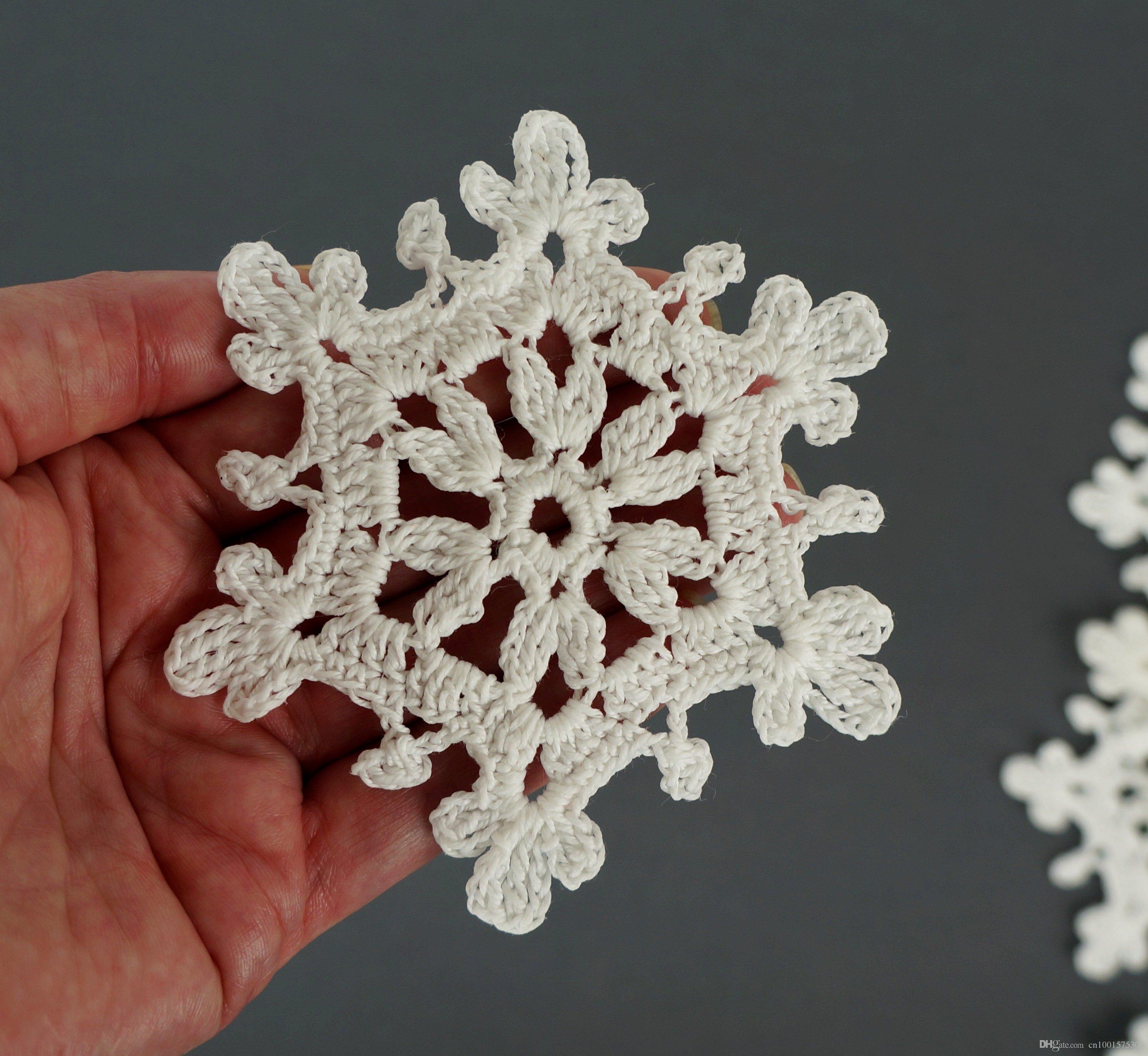 Set de copo de nieve de crochet 10 piezas Decoraciones de árbol de navidad Ornamentos de árbol de navidad Regalo de Janucá Decoración de ventana de invierno