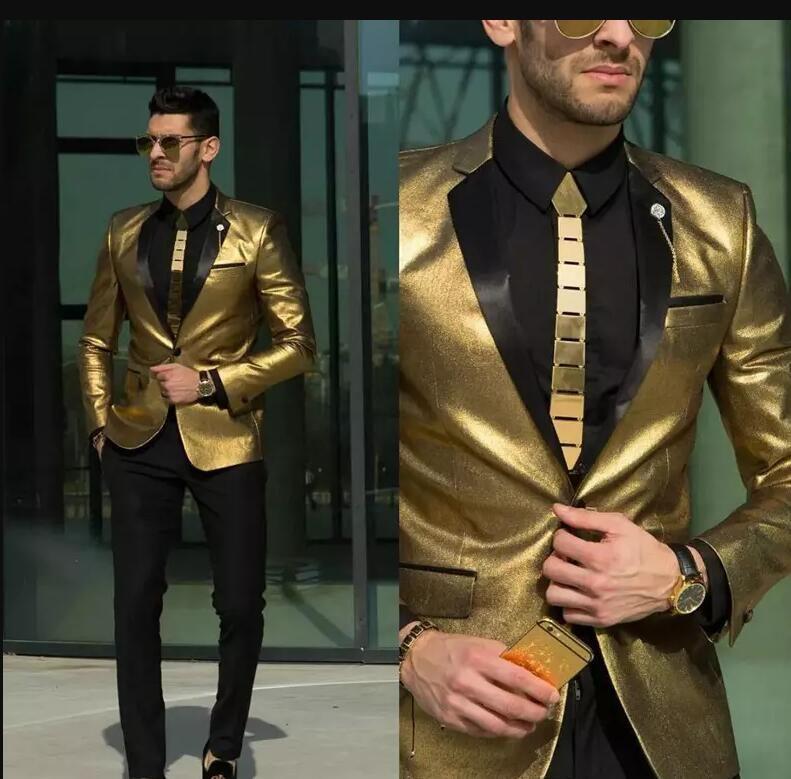 2018 новые блестящие золотые свадебные костюмы для мужчин дешевые смокинги Slim Fit жених носить Лучшие мужские костюмы на заказ(куртка+брюки)