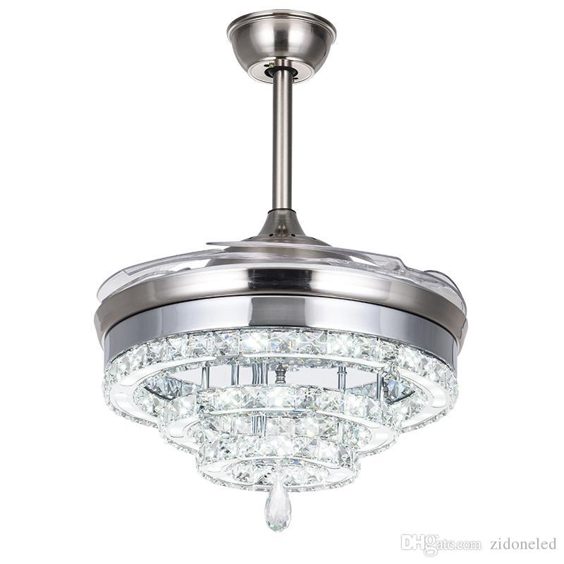 LED ventilateur de lustre en cristal s'allume ventilateur invisible Crystal Lights salon chambre restaurant moderne ventilateur de plafond 42 pouces avec télécommande