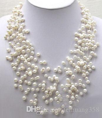 Branche d'haleine pour bébé avec perle blanche véritable étoiles collier avec fermoir plaqué or blanc