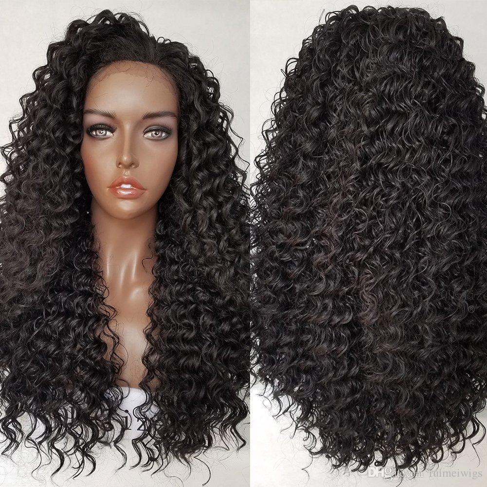 Capelli sintetici Glueless resistenti al calore Afro Kinky ricci in pizzo sintetico Parrucche naturali nero / marrone medio sintetico per donne nere