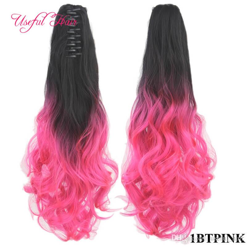 Valentinens Pony Tail Hair Extensions Rubia Pelo PonyTails Synthtic PonyTails Largo Curly Claw Ponytail Clip en Extensiones de Pelo Hoquilla