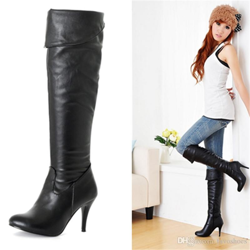 Fashion Hot Sale Womens Synthetic Leather High Heel Shoes Over Knee Boots  B005 US Size 4 10.5 UK Size All By Favoshoes Black Boots Boots Pharmacy  From