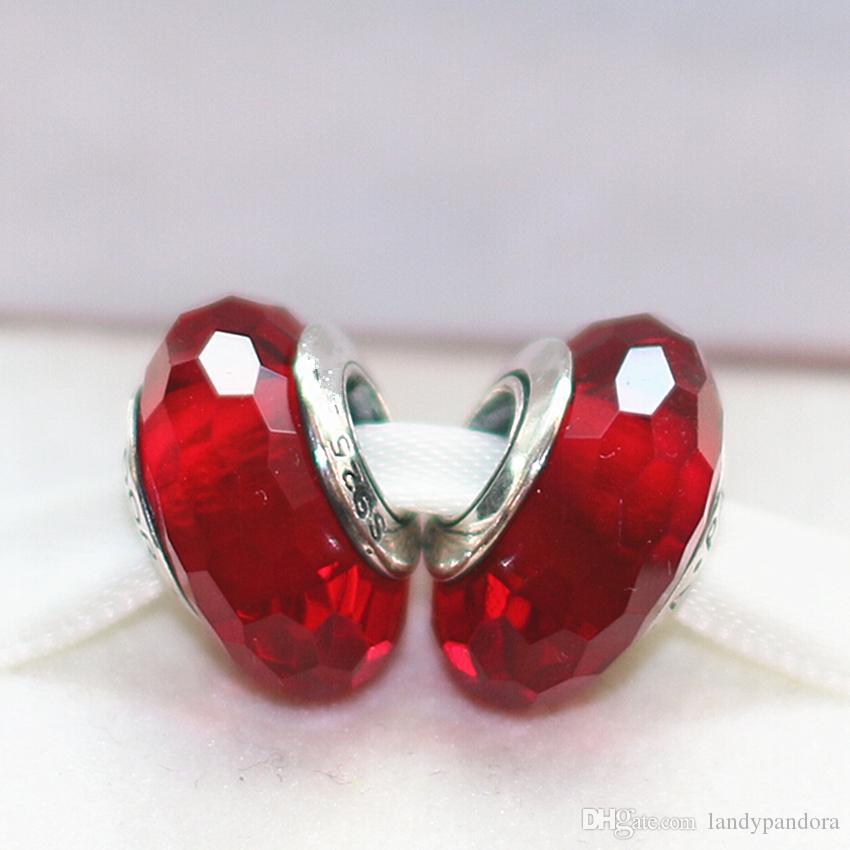 5pcs plata de ley 925 joyas de estilo Red fascinante facetadas de cristal de Murano cupieron Europea Pandora pulseras del encanto Collares-08