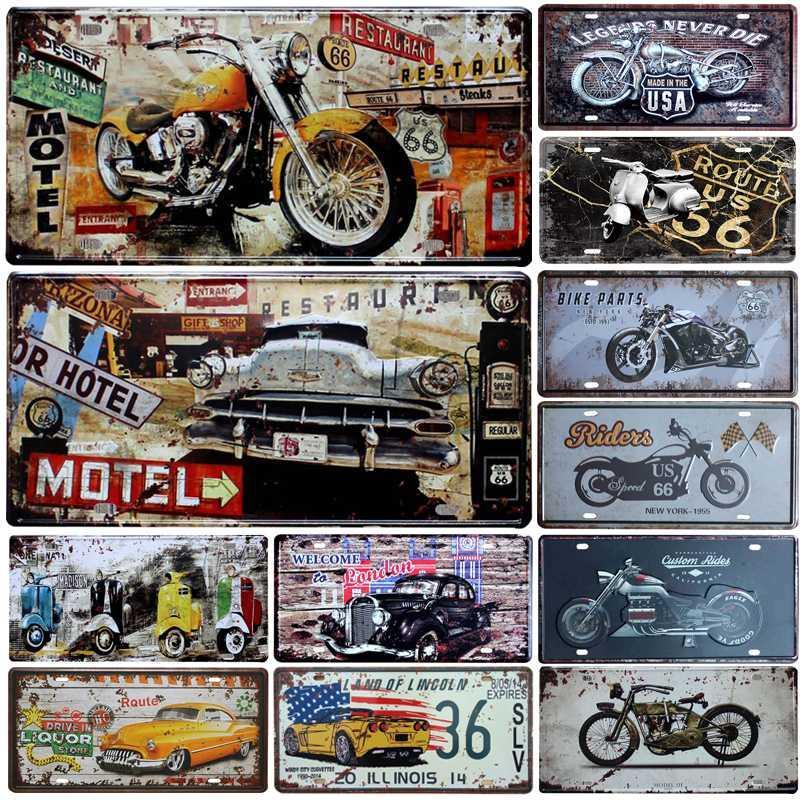 뜨거운 오토바이 자동차 금속 라이센스 플레이트 빈티지 홈 장식 틴 서명 바 펍 차고 장식 금속 로그인 그림 플라크