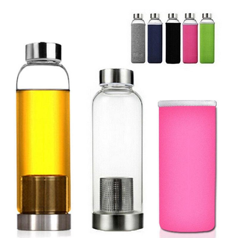 550ml BPA Free Glass Sport Water Bottle with Tea Filter Infuser Protective Bag Outdoor Travel Car Cups LJJA663