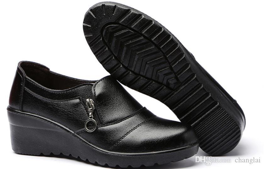 Invia libero 2018 primavera e autunno nuovo stile Mezza età tallone Mama con scarpe a testa rotonda