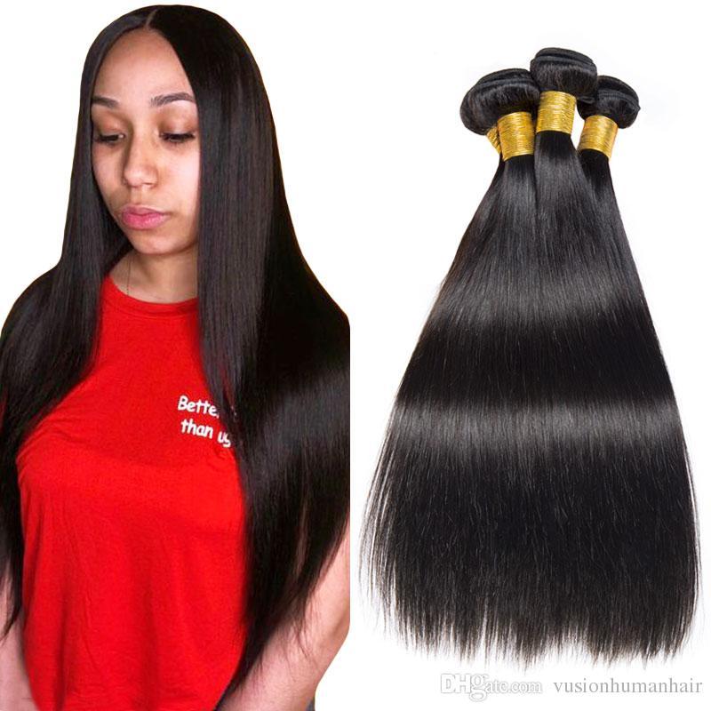 Tanie proste włosy splot 3 wiązki 18 20 22 cali Natural Black 7A Virgin Hair Voundles Oferty brazylijskie peruwiańskie indyjskie malezyjskie włosy splot