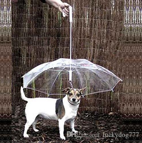 Toptan Serin Pet Malzemeleri Faydalı Şeffaf PE Pet Şemsiye Küçük Köpek Şemsiye Köpek Dişli ile Yağmur Dişli Pet Kuru Tutar A220