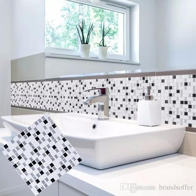 """3D Peel and Stick Removable Self Adhesive Mosaic Stone Tile Wall decal Sticker DIY Kitchen Bathroom Home Decor vinyl, 10"""" X 10""""(4 PCS)"""