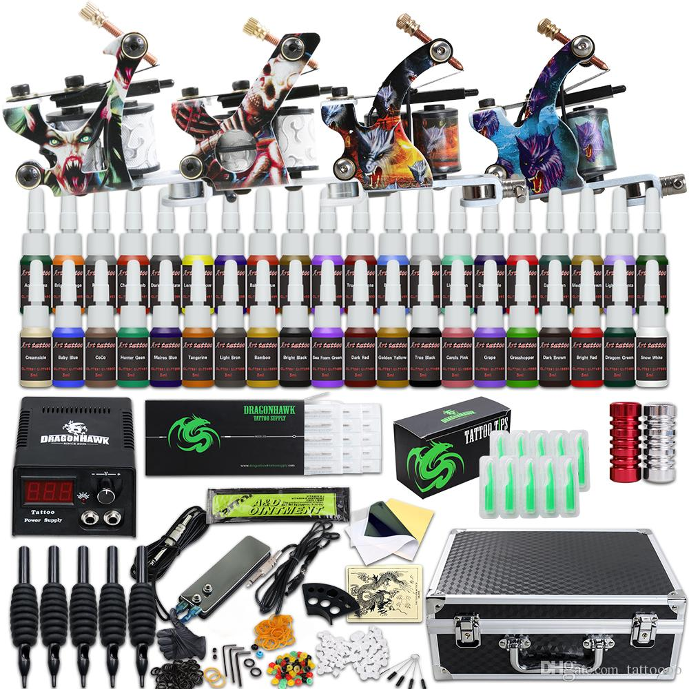 Complete Tattoo Kit 4 Guns Machine 40 Inks LCD-voeding Naalden Tips Carry Case D120GD