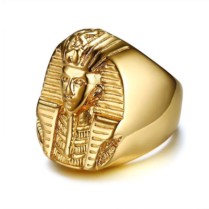 Pharaon en forme de bagues pour hommes ton doré en acier inoxydable rock punk ancienne Egypte mâle accessoires de bague