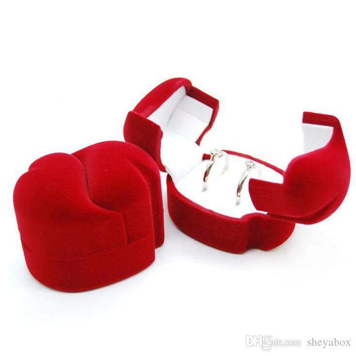 Red Jewelry Ring Gift Box Velvet Jewellery Proposal Couple Rings Earrings Jewels Packaging Boxes with White Satin Insert Two Doors