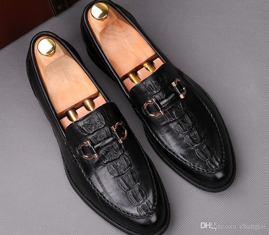 Livraison gratuite 2018 nouveau style chaussures à talons bas en cuir pour hommes au printemps et à l'automne @ 988