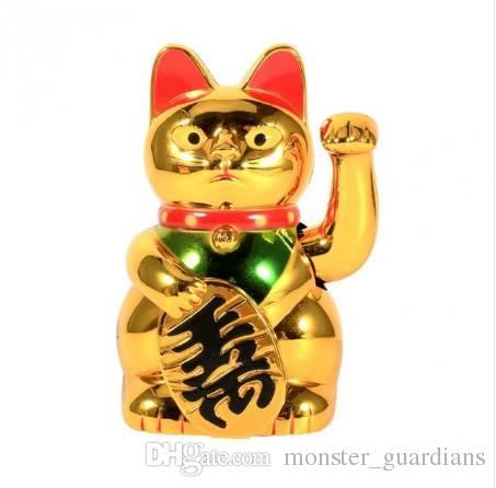 Altın Feng Shui Şanslı Kediler Şanslı Beckoning Waving Servet Kedi 5 Inç Tall Ev Dekorasyon Aksesuarları