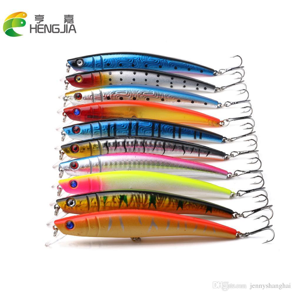 Hengjia Fishing Lure Bait Pesca trackle Trucha flotante Minnow Bait dos ganchos 11.5CM 11.2G ganchos 20pcs / lot (MI005)