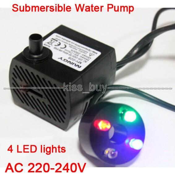 Freeshipping Submersible Water Pump 4 LED lights 180L/H 2.5W Aquarium Fish Tank Pond Fountain