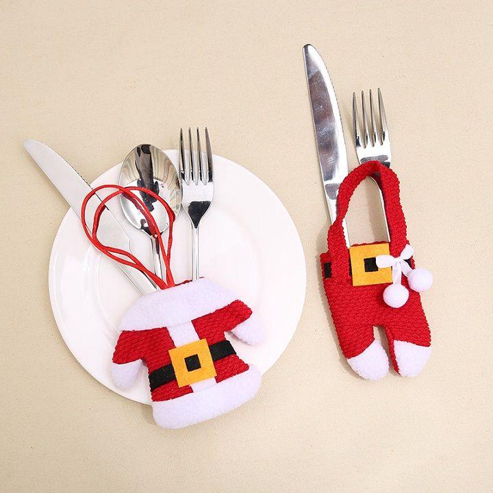 Christmas ForkKnife Adorno de vajilla Año Nuevo Decoración de Navidad para la mesa de casa Decoración Cubiertos bolsa de bolsillo santa claus