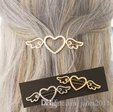Kızlar Için saç Kelepçeleri / Bayanlar Açıları Kanatları Kalp Altın Gümüş Metal Firkete Saç Kelepçe Klip Kesip