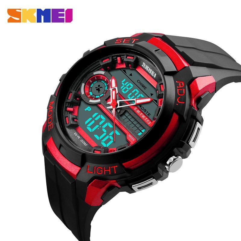SKMEI 남자 스포츠 시계 LED 백 라이트 내성 충격 군사 시계 쿼츠 디지털 듀얼 디스플레이 망 손목 시계 1202
