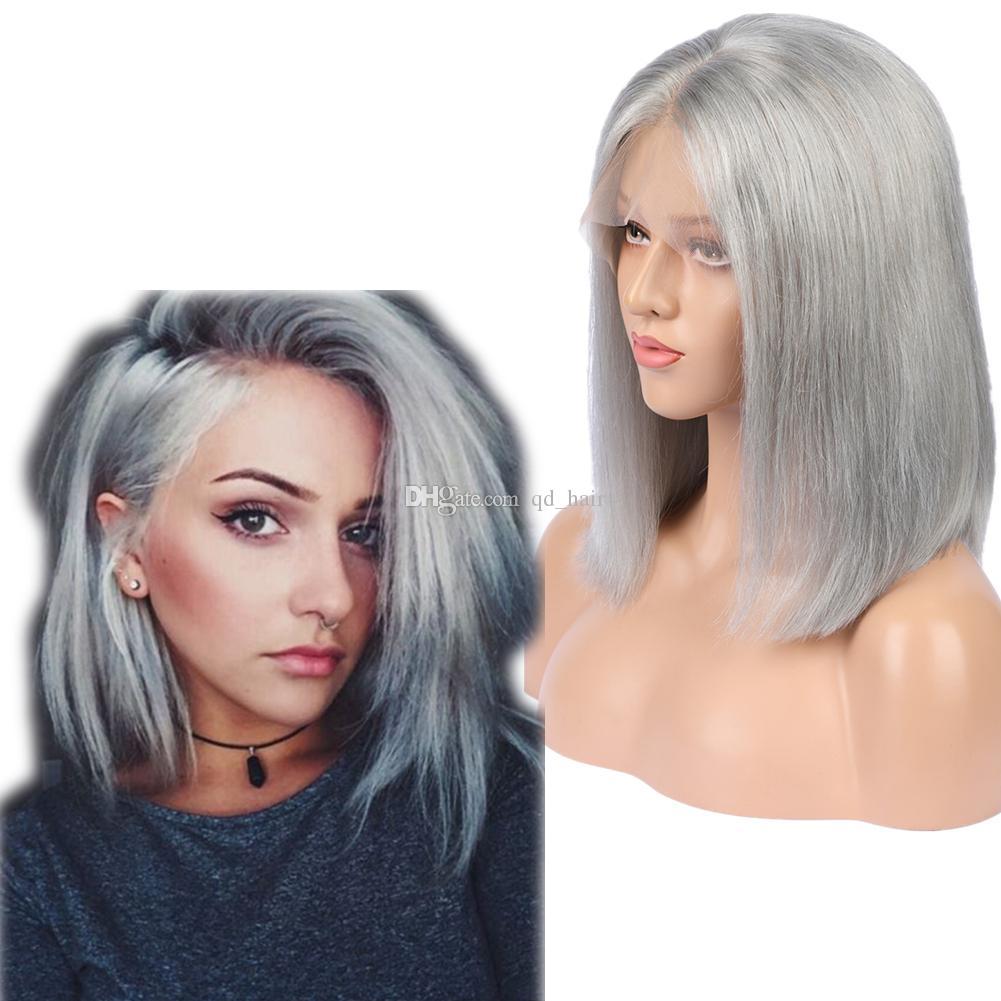 Gümüş Gri Renk İnsan Saç Peruk Doğal Saç Çizgisi Tutkalsız Tam Dantel Peruk Ile Bebek Saç Bob Saç Kesimi Dantel Ön Peruk Kadın Için