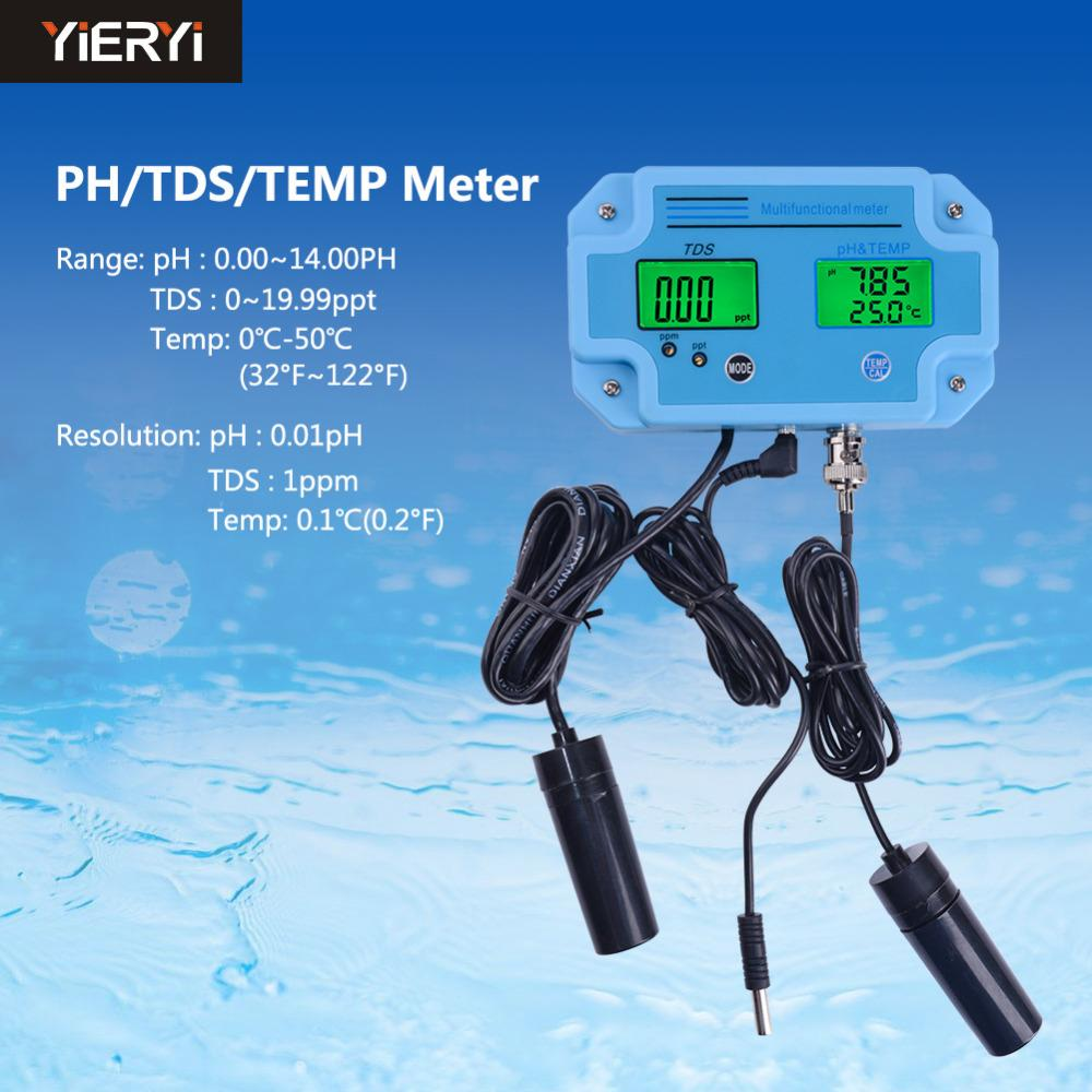 Yieryi PH-2983 Digital Ph Tester, Temperature & Tds 3 In 1 Multi-parameter Water Quality Analyzer Water Meter Tester Tool