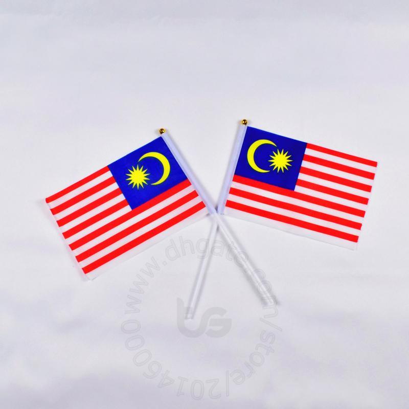 Bandiera della Malesia Banner 10 pezzi / lottp 14x21 cm Bandiera 100% bandiere in poliestere con pennoni in plastica per la decorazione celebrazione